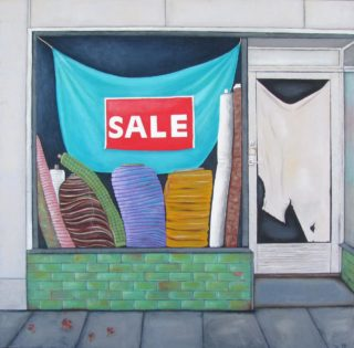 A Mixed Media artwork by Pauline Bailey in the Contemporary Realist style  depicting Buildings and titled Job Warehouse, Bourke Street