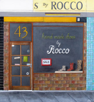 An Acrylic painting by Pauline Bailey in the Contemporary Realist style  depicting Buildings and titled Rocco's Malvern