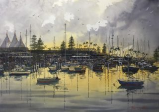 A Watercolour painting by Bruce Griffiths in the Realist Impressionist style  depicting Boats and Water with main colour being Grey and Yellow and titled Southport Yacht Club Dawn