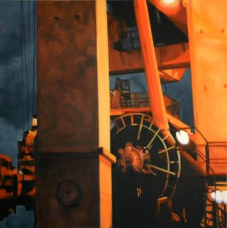 An Oil painting by Karen Bloomfield in the Contemporary Realist style  Industrial and Machinery with main colour being Black Orange and Yellow and titled Machinations
