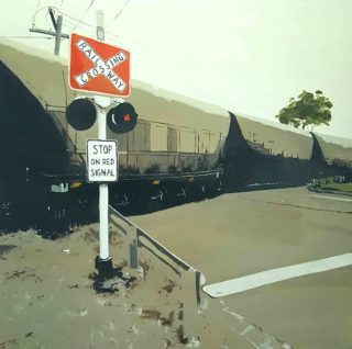An Oil painting by Karen Bloomfield in the Contemporary Realist style  depicting Landscape Trains with main colour being Grey and Red and titled Stop on Red Signal