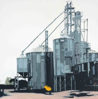 An Oil painting by Karen Bloomfield in the Contemporary Realist style  depicting Industrial and Machinery with main colour being Grey and titled Tintown