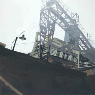 An Oil painting by Karen Bloomfield in the Contemporary Realist style  depicting Industrial and Machinery with main colour being Grey and titled A Track tion