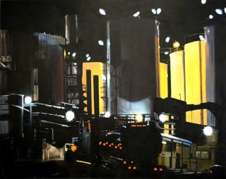 An Oil painting by Karen Bloomfield in the Contemporary Realist style  depicting Industrial with main colour being Black and Yellow and titled Siloettes