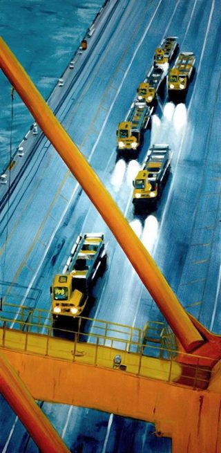 An Oil painting by Karen Bloomfield in the Contemporary Realist style  depicting Industrial Bridge with main colour being Blue Orange and Yellow and titled Obtuse