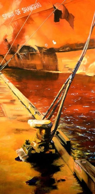 An Oil painting by Karen Bloomfield in the Contemporary Realist style  depicting  Industrial and Ships with main colour being Orange and Red and titled Weighting