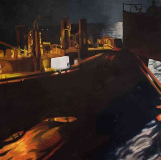 An Oil painting by Karen Bloomfield in the Contemporary Realist style  depicting Industrial and Ships with main colour being Black and Orange and titled The Cargo Men