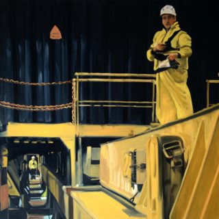 An Oil painting by Karen Bloomfield in the Contemporary Realist style  depicting People Machinery with main colour being Black and Yellow and titled Scale 2