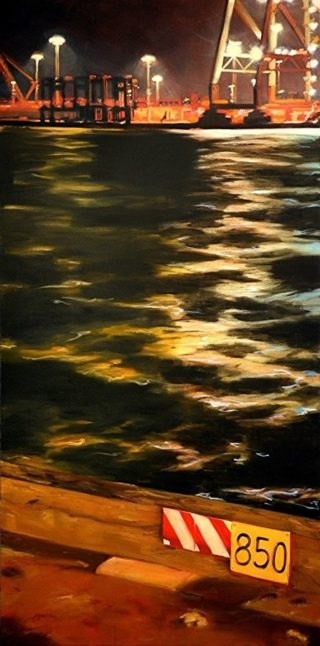 An Oil painting by Karen Bloomfield in the Contemporary Realist style  Boats and Water with main colour being Olive Orange and Yellow and titled Transverse