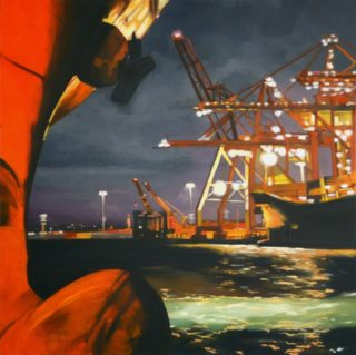 An Oil painting by Karen Bloomfield in the Contemporary Realist style  depicting  Boats Machinery and Water with main colour being Blue Green and Red and titled Pre-Dawn Hum