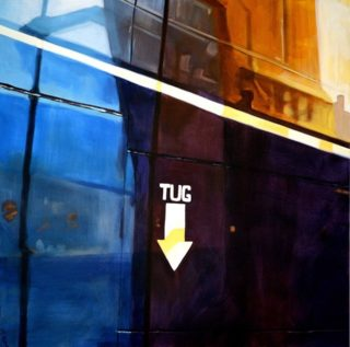An Oil painting by Karen Bloomfield in the Contemporary Realist style  Industrial and Ships with main colour being Black Blue and Orange and titled TUG