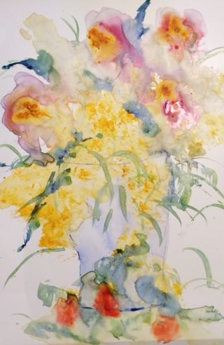 A Watercolour painting by Margaret Morgan Watkins in the Contemporary Realist style  depicting Flowers with main colour being White and Yellow and titled Spring Flowers in Blue Vase