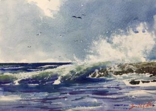 A Watercolour painting by Bruce Griffiths in the Realist Impressionist style  depicting Seascape Beach Rocks and Sea with main colour being Blue and White and titled Angourie Headland Break
