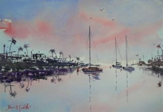 A Watercolour painting by Bruce Griffiths in the Realist Impressionist style  depicting Boats Buildings and Jetty with main colour being Blue Brown and Pink and titled Serenity
