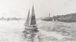 A Pencil painting by Ellen Lee Osterfield in the Realist style  depicting Boats with main colour being Grey and titled Sydney Harbour 1963