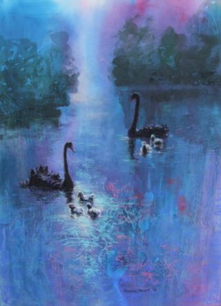 A Pastel artwork by Tricia Reust in the Contemporary style  depicting Landscape Birds and Water with main colour being Blue and Pink and titled Haven