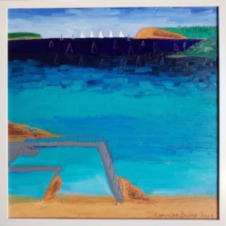 An Oil painting by Jennifer Baird in the Contemporary style  depicting Beach with main colour being Blue and titled Fairlight Beach