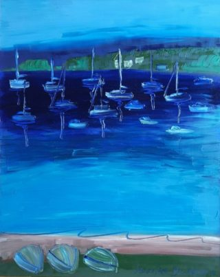 An Oil painting by Jennifer Baird in the Contemporary style  depicting Boats Beach with main colour being Blue and titled Valentine, Lake Macquarie