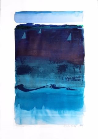 A Mixed Media painting by Jennifer Baird in the Contemporary style  depicting Boats Beach with main colour being Blue and titled Collingwood Beach, Jervis Bay, NSW