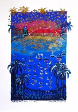 A Mixed Media painting by Jennifer Baird depicting Bridge with main colour being Black Blue and Red and titled Sydney Harbour NYE 2017