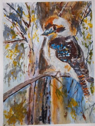A Watercolour painting by Margaret Morgan Watkins depicting Animals Birds with main colour being Blue Green and Grey and titled The Kookaburra in the Old Gum Tree