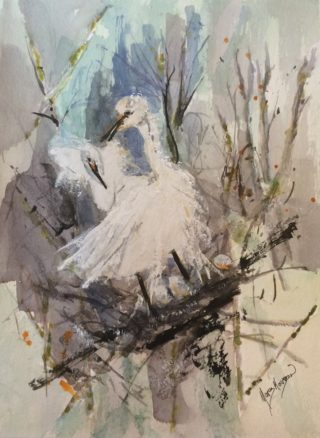A Watercolour painting by Margaret Morgan Watkins depicting Animals Birds with main colour being Blue Brown and Grey and titled Egrets Nesting