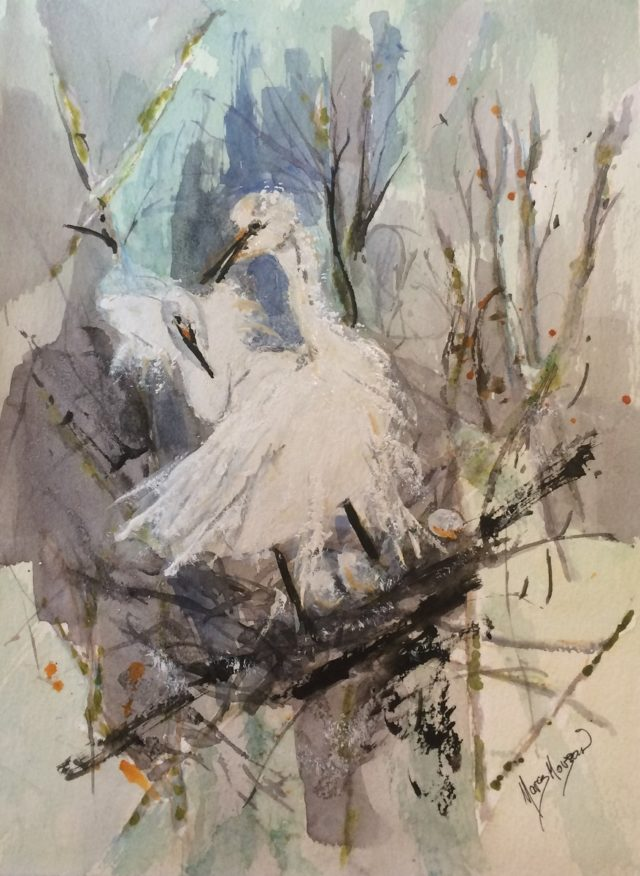 Mixed Media Painting by Margaret Morgan Watkins titled Egrets Nesting