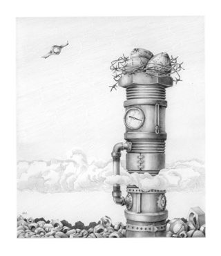 A Pencil drawing by LInda Weil in the Surrealist style  depicting  Industrial and Machinery with main colour being Grey and titled Eyrie