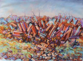 A Mixed Media artwork by Diana Bradshaw in the Contemporary style  depicting Landscape Rocks and Trees with main colour being Blue Ochre and Orange and titled Rhyolite Outcrop Gawler Ranges