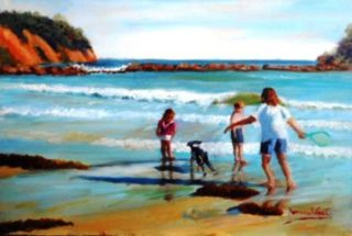 An Oil painting by Yvonne West in the Realist Impressionist style  depicting Beach and Children with main colour being Blue Brown and Ochre and titled Barlings Beach Fun