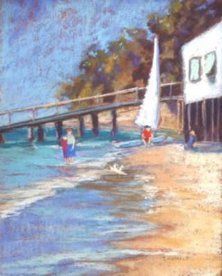 A Pastel painting by Janette Humble in the Realist Impressionist style  Beach Jetty and People with main colour being Blue Cream and Yellow and titled At The Yacht Club