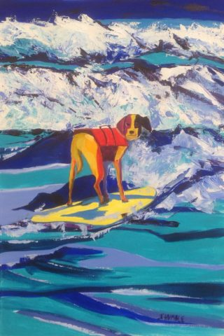 An Acrylic painting by Janette Humble in the Contemporary style  depicting Beach Dogs and Sea with main colour being Blue Green and White and titled My Boogie Buddy