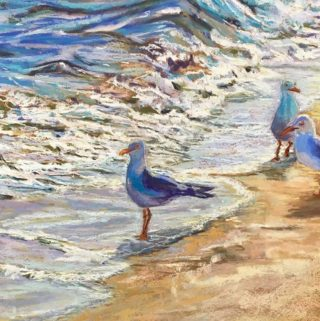 A Pastel painting by Janette Humble in the Realist Impressionist style  depicting Seascape Beach Birds and Sea with main colour being Blue Cream and White and titled First In