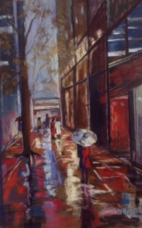 Acrylic Painting by Janette Humble titled Winter in the City