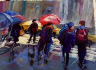 A Pastel painting by Janette Humble in the Abstract Impressionist style  depicting People Buildings City and Man with main colour being Blue Purple and Red and titled Rush Hour
