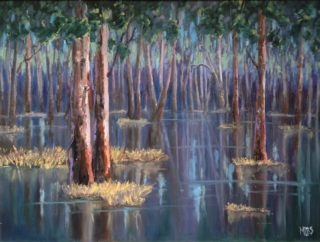 An Oil  painting  by Australian artist Moyra Le Blanc Smith in the Realist Impressionist style  depicting Landscape, Bush, River and Rural with main colour being Blue, Brown and Purple and titled Flooded Forest - Barmah