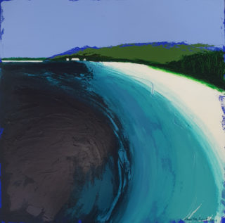 An Acrylic painting by Jennifer Baird in the Contemporary style  depicting Seascape Beach and Sea with main colour being Blue Green and White and titled Hyams Beach looking South