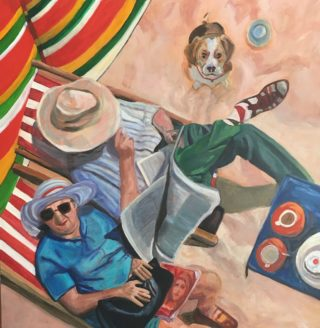 An Acrylic painting by Janette Humble in the Contemporary Realist style  depicting Beach Dogs and Man with main colour being Blue Cream and Ochre and titled Mavis and Harolds Day at the Seaside