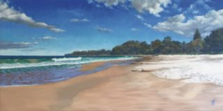 An Oil painting by Nicki Hall in the Realist Impressionist style  depicting Seascape Beach Rocks and Sea with main colour being Blue and Ochre and titled Narawallee Beach