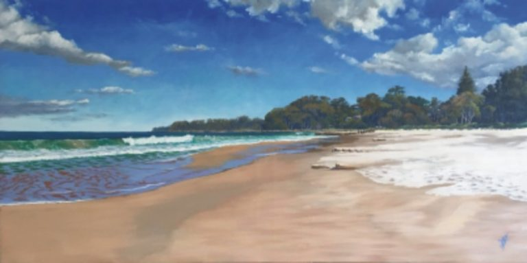 Oil Painting by Nicki Hall titled Narawallee Beach