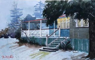 A Watercolour painting by Bruce Griffiths in the Realist Impressionist style  depicting Rural Buildings Bush and Farmland with main colour being Blue Brown and White and titled WINTER'S PALE MOONLIGHT