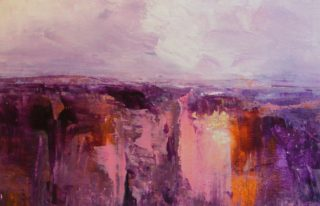An Acrylic painting by Trish Bennett in the Abstract style  depicting Landscape Mountains with main colour being Grey Pink and Purple and titled Rugged Beauty