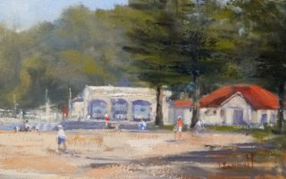 An Oil painting by Trish Bennett in the Realist Impressionist style  depicting Buildings and Trees with main colour being Green Grey and Ochre and titled Painting Austinmer