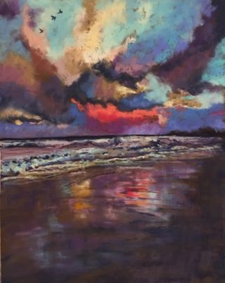A Pastel painting by Janette HUMBLE in the Realist Impressionist style  depicting Seascape Beach Night and Sea with main colour being Blue Purple and Red and titled Evening Light