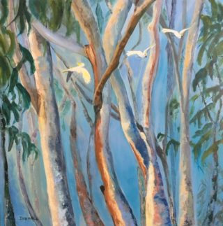 An Acrylic painting by Janette Humble in the Abstract Impressionist style  depicting Bush Birds and Trees with main colour being Blue Cream and Green and titled Homeward Bound