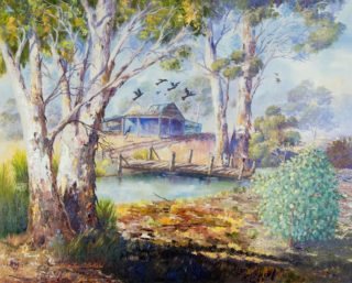An Oil painting by Ellen Lee Osterfield in the Realist style  depicting Landscape Rural and Trees with main colour being Blue Ochre and Olive and titled Wild Australia