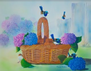 A Watercolour painting by Ellen Lee Osterfield in the Realist style  depicting Birds with main colour being Blue Brown and Green and titled Basket of Blue Wren