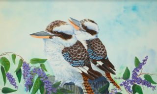 A Watercolour painting by Ellen Lee Osterfield in the Realist style  depicting Birds with main colour being Blue Brown and Green and titled Kookaburra Friends