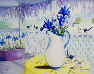 A Watercolour painting by Ellen Lee Osterfield in the Realist style  depicting Still Life Birds and Flowers and titled Morning Tea Visitors
