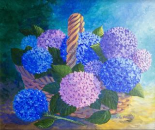 An Acrylic painting by Ellen Lee Osterfield in the Realist style  depicting Flowers with main colour being Blue and Purple and titled Basket of Hydrangeas